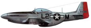 P-51D-10-NA (44-14395, L2*M, «The Onley Genevieve»). 434th FS. 479th FG. 8th AF. Пилот лейтенант Роберт Б. Клайн. Англия, декабрь 1944 года.