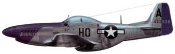P-51D-5-NA (44-13530. НО*А. «Dutchess»), 487th FS. 352nd FG. 8tli AF. Пилот лейтенант Дюэрр Шу, Англия, февраль 1495 года. 26 декабря 1944 года летчик сбил на этой машине три Bf 109 в бой над Фельденбором. Раньше на этом истребителе летал лейтенант Джордж Арнольд. Тогда самолет назывался «Babylon Panther».