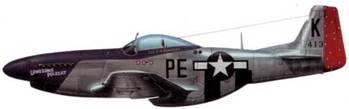 P-51D-5-NA (44-13759, РЕ*К. «Lonesome Polecat»), 328th FS. 352 nd FG. 8th AF. Пилот капитан Фрэнк А. Кебелмен-младший, Англия, январь 1945 года. До этого на истребителе летал лейтенант Хью А. Говард, погибший 31 декабря 1944 года во время боевого вылета на другой машине.