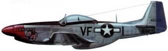 P-51D-15-NA (44-15647, VF*1, «Johnetta IV»), 356th FS, 4th FG, 8th AF, Дебден, Англия, 25 апреля 1945 года. Пилот лейтенант Дуглас Н. Грошонг. «Оформление» самолета сделал сержант Дон Аллен. С января 1945 года в 336-й эскадрильи появился красный кант на литерах кода. Черная противобликовая панель и черная рама фонаря одновременно служили элементами быстрой идентификации эскадрильи.