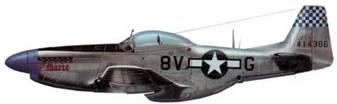 F-6D-10-NA (44-14300, 8V*G, «Lit Marie), 31st PS, 67th TRG, 9th AF, Германия, май 1945 года. Прежде машина летала в составе 15th TRS и принадлежала капитану Клайду Исту (13 побед). В тот период самолет имел бортовой код 5М*К и собственное имя «LiI Margaret». Под кабиной имелось 13 знаков побед.