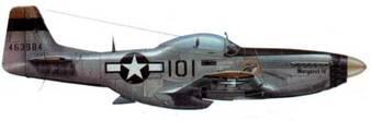 P-51D-20 (44-63984, «101», «Margaret IV»), 78th FS. 15th FG, 7th AF, Иводзима, апрель 1945 года. Пилот майор Джеймс Тапп (8 побед в воздухе, три самолета, уничтоженных на земле). Самолет нес шесть 127-мм ракет HVAR и два 165-галлоновых (620 л) бака от Р- 38. В такой конфигурации самолеты 15th FG летали с 17 апреля по 11 мая над Японией, разыскивая и уничтожая базы камикадзе.