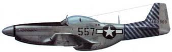P-51D-20-NA (44-63909, «557», экс- 257), 458th FS, 506th FG, 20th AF, Иводзима, май 1945 года. 506-я группа шрибыла на Иводзиму в мае 1945 года. Группа была целиком оснащена самолетами P-51D-25-NA. Данная машина прежде летала в составе 72-й эскадрильи 21-й группы. Отсюда черная противобликовая панель перед кабиной и остатки старых обозначений на носу.