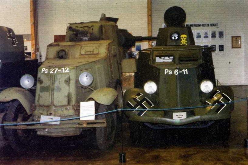 В финском танковом музее в Пароле можно увидеть советские <a href='https://arsenal-info.ru/b/book/3284703281/8' target='_self'>бронемашины</a> БА-10 и БА-20М. Оба <a href='https://arsenal-info.ru/b/book/3151508101/26' target='_self'>броневика</a> хорошо сохранились и до недавнего времени были на ходу