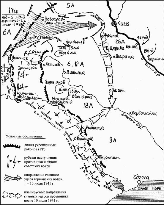 Замысел германского командования на прорыв укрепленных районов и разгром главных сил Юго-Западного фронта в районе Винницы
