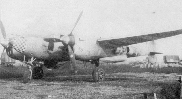 «Му California Cutie/Mary» – P-38J из 485-й истребительной эскадрильи 370-й истребительной авиагруппы, Флореннес, Бельгия. Крест черного цвета рядом с табличкой завода-изготовителя говорит о том, что самолет оснащен топливными баками в носких крыла.