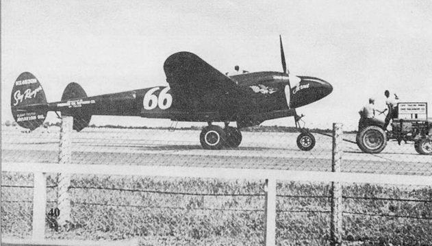 «Hornet» – P-38J, использовавшийся на гонках Thompson Trophy Race, которые проводились в 1948 г. в Кливленде, шт. Огайо. Самолет окрашен в черный цвет, коки винтов и надписи – желтые. На вертикальном оперение написано название фирмы-спонсора – Sky Ranger Aviation Oil.