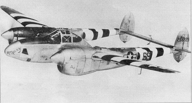 «Mary/Bret» – F-5B-I из 34-й фототразведывательной эскадрильи 10-й фоторазведывательной авиагруппы с накрашенными полосами Вторжения, июнь 1944 г. F-5B-1 представлял собой планер Р- 38./ с фотоаппаратурой от F-5A-10.