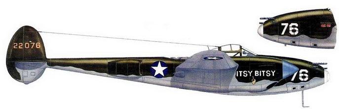 ITS У BITSY – P-38E из 54-й истребительной эскадрильи, в 1943 г. с острова Адьяк на этом самолете летал капитан Джордж Лэвин.