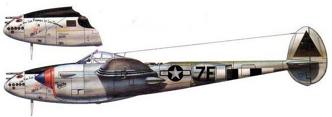 Les Vin. Les Femmes, el Chansone – P-38J- 25 майора Сабо из 485-й эскадрильи, Флореннис, Бельгия, октябрь 1944 г.