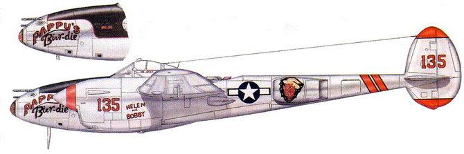 PAPPY'S Birr-die – P-38L из 431-й истребительной эскадрильи, 1945 г. На самолете летал командир эскадрильи майор Р.И. «Паппи» Клайн.