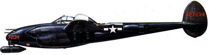 Р-38М «Найт <a href='https://arsenal-info.ru/b/book/1467792136/4' target='_self'>Лайтнинг</a>» или из 418-й, или из 421-й ночной истребительной эскадрильи, оккупационные силы Японии, конец 1945 г.