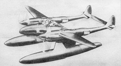 Рисунок «Лайтнинга» в варианте гидросамолета. Проект был основан на использовании планера Р-38Е. Предусматривалась возможность сброса поплавков и посадки па колесное шасси. Битва при Мидуэе поставили крест на данном проекте.