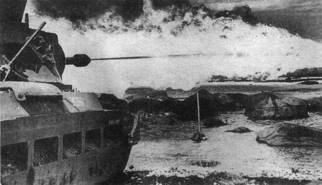 Выстрел из огнемета танка Matilda Frog. 1945 год