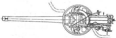 """Противоминное 6-дм (152-мм) орудие на станке с центральным штырем. Орудие прикрывает 3-дм (76-мм) броневой щит цилиндрической формы, названным О. Парксом """"орудийной нишей"""""""