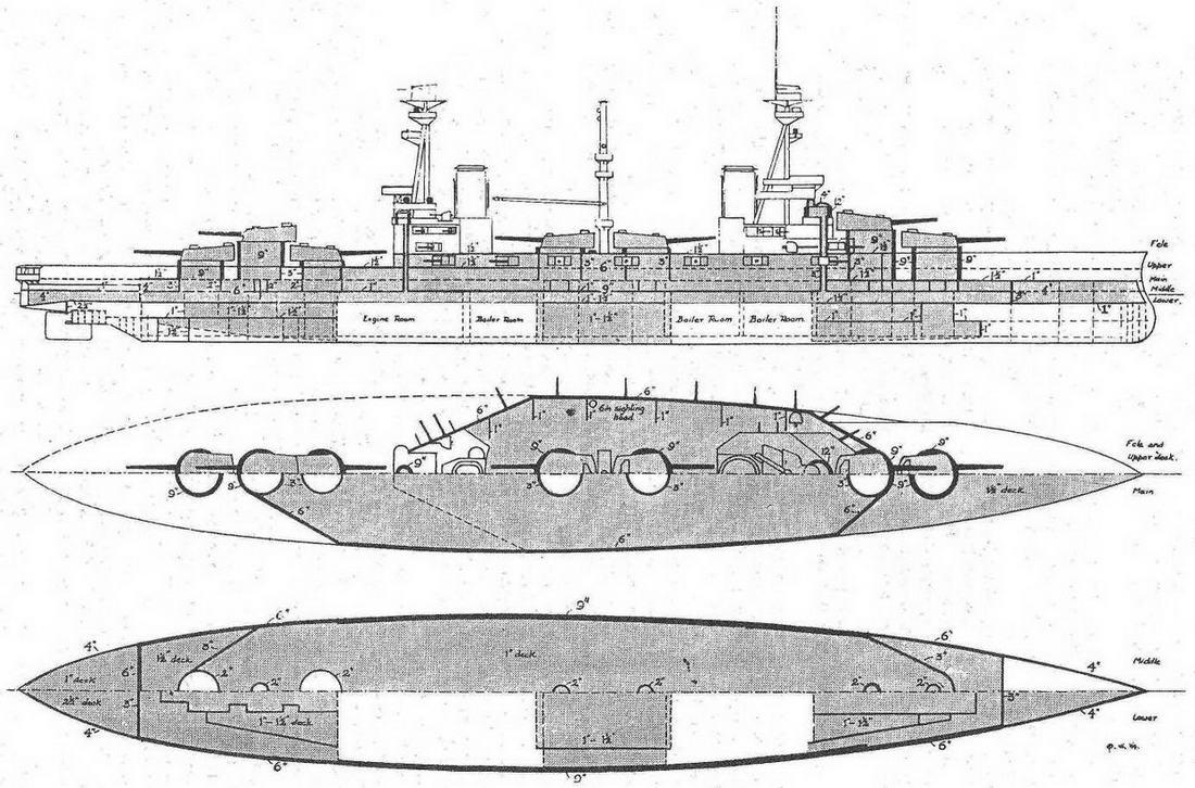 """Линейный корабль """"Эджинкорт"""". 1914 г."""