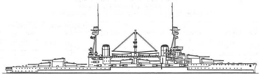 """Наружный вид линейного корабля """"Эджинкорт"""". 1914 г."""