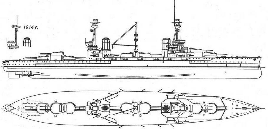 """Наружный вид и вид сверху <a href='https://arsenal-info.ru/b/book/2587171837/1' target='_self'>линейного корабля</a> """"Эджинкорт"""". 1915 г."""