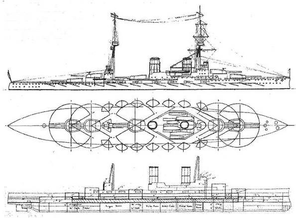 Проект 685 (январь 1911 г.).Водоизмещение 31000т. длина 650 ф, ширина 92 ф. 10 16- дм, 14 6-дм орудий