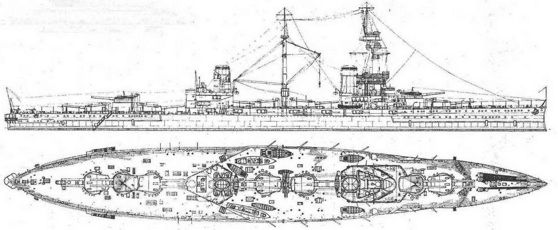 """Наружный вид и вид сверху <a href='https://arsenal-info.ru/b/book/2587171837/1' target='_self'>линейного корабля</a> """"Эджинкорт"""". 1918 г."""