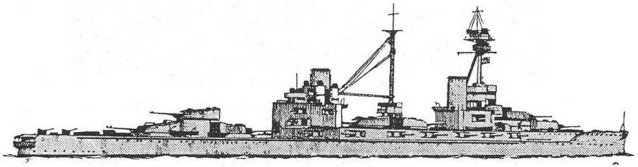 """Рисунок наружного вида линейного карабля """"Эджинкорт"""". 1918 г. (Из книги О. Parkes British Battleships. London. 1966.)"""
