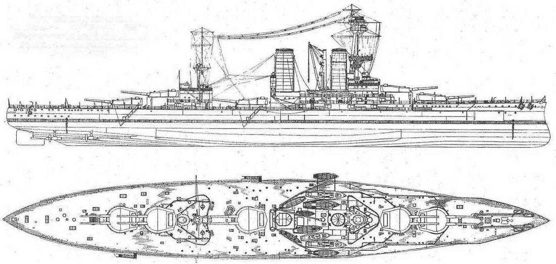 """Наружный вид и вид сверху линейного корабля """"Канада"""". 1915 г."""