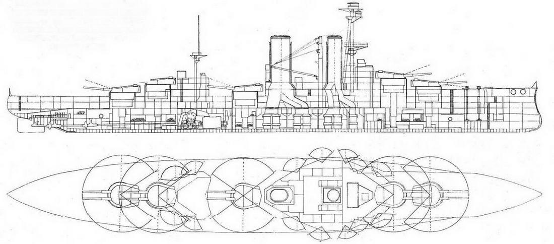 """Продольный разрез и вид сверху с указанием секторов обстрела орудий линейного корабля """"Канада"""". 1915 г."""