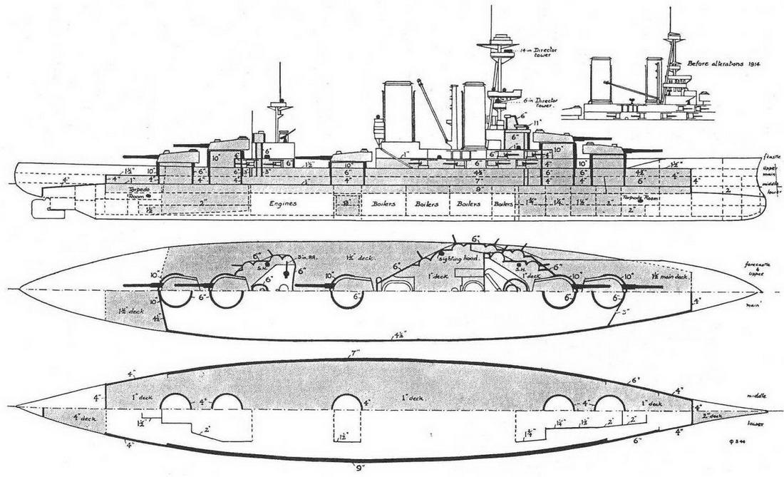 """Линейный корабль """"Канада"""". Сентябрь 1915 г. (продольный разрез и планы палуб с указанием бронирования)"""