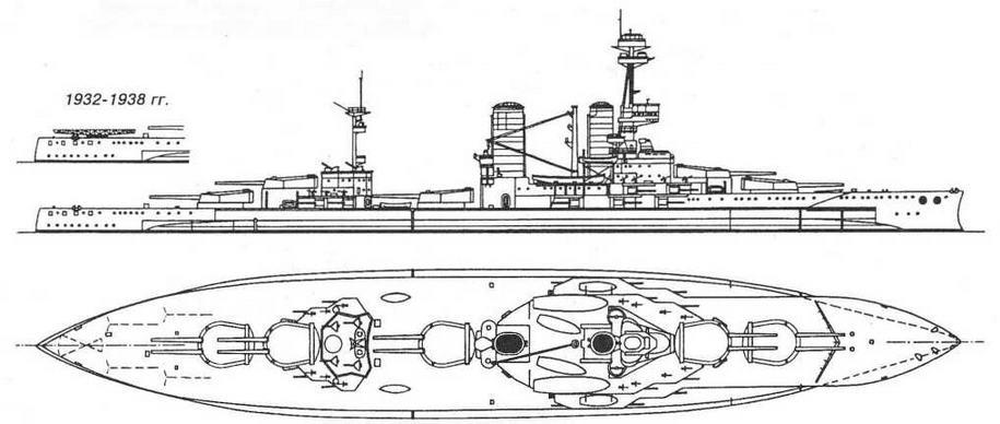 """Наружный вид и вид сверху линейного корабля """"Альмиранте Латорре'' (б. """"Канада""""). 1955 г."""