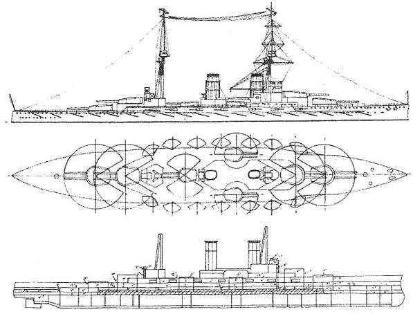 Наружные виды с указанием системы бронирования проектов бразильского линейного корабля под номерами 685 и 686