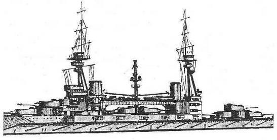 """Рисунок наружного вида линейного карабля """"Эджинкорт''. 1914 г. (Из книги О. Parkes British Battleships. London. 1966.)"""