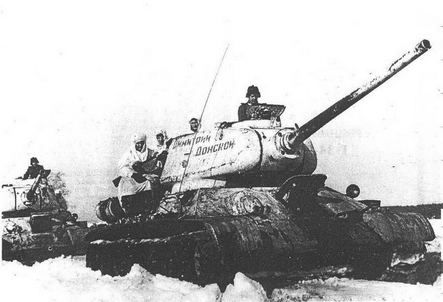 """Т-34-85 с пушкой Д-5Т. 38-й отдельный танковый полк. Танковая колонна """"Димитрий Донской"""" была построена на средства Русской Православной церкви."""