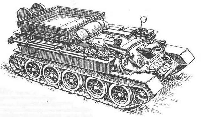 Тягач Т-34Т с комплектом такелажного оборудования, грузовой платформой, кран-стрелой и комплектом вспомогательных приспособлений для ремонтных работ.