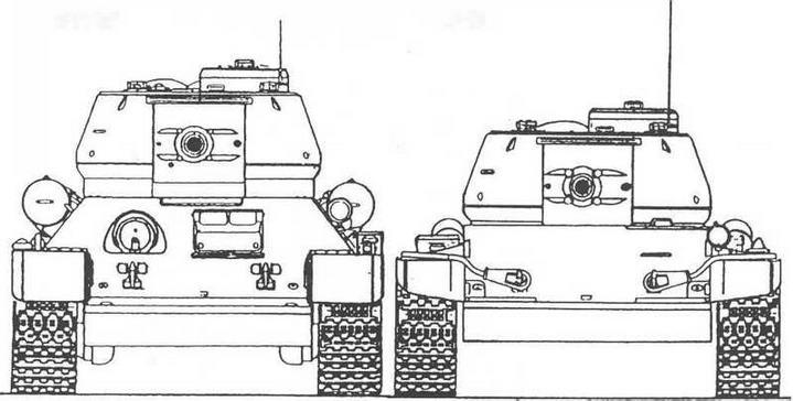 Слева: Т-34-85 Справа: Т-44