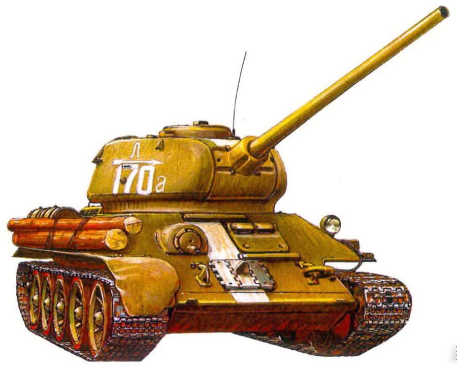 Т-34-85. 4-я гвардейская танковая бригада, 2- й гвардейский танковый корпус, 3- й Белорусский фронт. Восточная Пруссия, 1944 г.