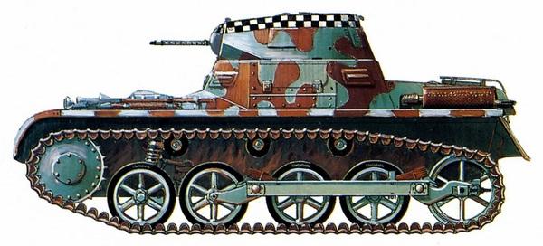 Pz.I Ausf.A в двухцветном камуфляже рейхсвера, использовавшемся в вермахте вплоть до 1935 года. «Шашечная» полоса на башне обозначает принадлежность танка к штабному взводу.