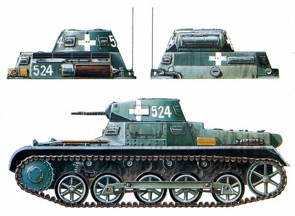 Pz.I Ausf.B из 5-й роты 1-го танкового полка 1-й танковой дивизии (5/Pz.Rgt.1, 1.Panzer Division). Эта машина была подбита огнём польской артиллерии 4 сентября 1939 года под Петркув-Трыбунальским. Размещение крестов и тактических номеров не только на бортах, но и на носовых и кормовых частях корпуса и башни было характерным для Польской кампании.
