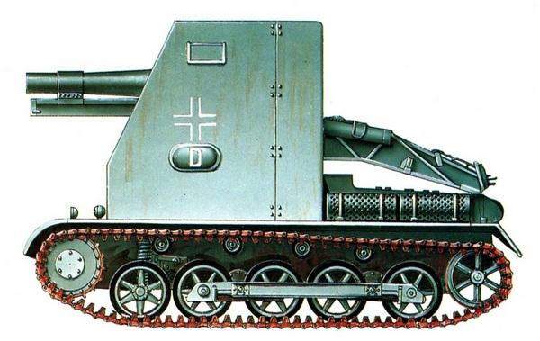 15 cm sIG 33 Sfl. auf Pz.I Ausf.B. 705-я рота тяжёлых пехотных орудий, 7-я танковая дивизия. Франция, 1940 год.