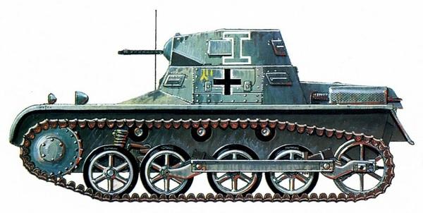 Pz.I Ausf.A. Танк командира 1-го батальона 5-й лёгкой дивизии (Pz.Abt.1, 5.Leichte Division). Триполи, февраль 1941 года. Доставленные в Африку немецкие танки были выкрашены в стандартный серый цвет вермахта и лишь в марте 1941 года поверх него нанесли жёлтую краску.