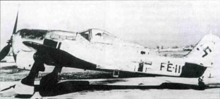 Трофейный Fw 190F-8/RI, захваченный американцами. Новые хозяева присвоили самолету код FE-116 (FE — Foreign Equipment, «иностранное оборудование»).