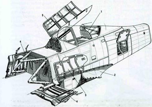 Люки на фюзеляже. 1. Фонарь кабины. 2. Зализ у основания крыла. 3. Люк пушечного отсека у основания крыла. 4. Задние боковые крышки капота со встроенными в них подвижными жалюзи. 5. Крышка пулеметного отсека.