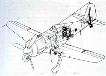 Схема оснащения самолетов серии A-8. В числе прочего, самолеты оснащались радиостанцией FuG I6ZY и имели возможность нести устройство GM I (Ruestsatz 4) или MW 51). В нижней части фюзеляжа видна штыревая антенна устройства FuG 25а. Некоторые самолеты дополнительно оснащались фотопулеметом BSK 16.