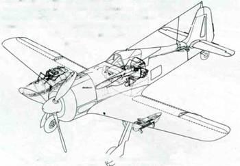 Схема оснащения самолетов Fw 190G-3/N. Самолеты оснащены экранами, защищающими кабин у пилота от вспышек огня, вырывающегося из выхлопных труп и пушечных стволов. Самолет оснащен автопилотом PKS 11. На рисунке также показаны замки V.Mtt-Schloss (под правым крылом), использовавшиеся на самолетах серий G-2 и ранних G-3.