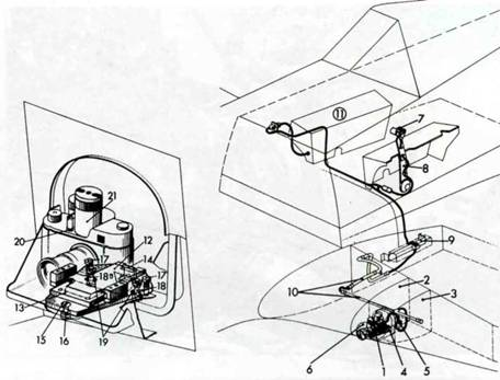 Схема установки фотокамеры в передней кромке крыла. 1. Малоформатный фотоаппарат Robot I или II. 2. Нервюра №36. 3. Нервюра №4. 4. Основание фотокамеры с регулятором ее положения. 5. Электрический разъем. 6. Обтекатель с отверстием. 7. Кнопка дистанционного управления. Н. Ручка газа. 9. Электрические разъемы на стыке крыло-фюзеляж. 10. Металлические жраны проводов. 11. Правая бортовая консоль. 12. Основание. 13. Упор. 14. Маска. 18. Шестигранный болт. 19. Овальные отверстия. 20. Кнопка спуска. 21. Пружинное устройство для перемотки фотопленки и выведения затвора.
