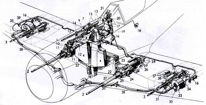 Схема вооружения Fw 190А-2 до А-5. 1. Пулеметы MG 17. 2. Пушки MG 151/20Е. 3. Пушка MG FF. 4. Боекомплект для пулеметов. 5. Крепление патронных коробок. 6. Подача пулеметной ленты. 7. Отражатель стреляных гильз. 8. Сброс стреляных гильз и звеньев ленты. 9. Основание станка. 10. Синхронизатор. 11. Сопрягающий элемент. 12. Тяга. 13. Электропневматическое устройство перезарядки MG 17. 14. Передний фрагмент станка MG 17. 15. Задний фрагмент станки MG 17. Баллоны со сжитым воздухом, оснащенные редуктором и вентилями. 17. Воздуховод. 18. Наружный клапан для заполнения системы сжитым воздухом. 19. Система <a href='https://arsenal-info.ru/b/book/887674952/20' target='_self'>перезарядки</a> пулеметов. 20. Счетчики расхода боеприпасов. 21. Прицел Revi C/12D. 22. Боекомплект для пушек MG 151/20Е. 23. Подача снарядов. 24. Сброс стреляных гильз и звеньев ленты. 25. Передний фрагмент пушечного лафета. 26. Задний фрагмент пушечного лафета. 27. Кожух ствола. 28. Ручка перезарядки пушки MG 151/20Е. 29. Ручка перезарядки пушки MG FF. 30. Гнездо системы наведения пушки. 31. Передний фрагмент лафета MG FF. 32. Задний фрагмент лафета MG FF. 33. Барабан Т 60 FF. 34. Держатель барабана. 35. Переключатель электропневматической системы перезарядки пушки. 36. Сброс стреляных гильз. 37. Кожух сброса. 38. Воздуховод, подающий горячий воздух для подогрева барабанов. 39. Кожух барабана с подогревом.