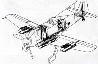 Схема вооружения на самолете Fw 190F-8/RI. На бомбодержателе ЕТС 501 под фюзеляжем на адаптере ER 4 подвешены четыре 50-кг бомбы. Под крыльями четыре бомбодержателя ЕТС 50 или ЕТС 71. В результате самолет мог нести до восьми бомб массой 50 или 70кг.