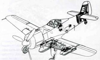 Планируемая схема вооружения и оснащения самолета F-15/R1. Бомбодержатель ЕТС 501 под фюзеляжем заменили бомбодержателем ЕТС 504. Самолет также оснащен радиостанцией FuG 15. На рисунке изображены бомбодержатели ЕТС 71 под левым крылом. В действительности, держатели обязательно ставили симметрично на оба крыла.