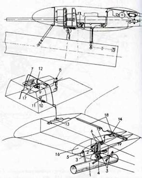 Ruestsatz 6 — труба-направляющая для ракеты W. Gr. 21. После пуска ракеты труба сбрасывалась. 1. Труба. 2. Гак с защелкой. 3. Распорка. 4. Отделяемый зацеп. 5. Нервюра Ле 8. 6. Боковые подпорки. 7. Разделительная коробка SVK 2-151/131Е. 8. Ручка управления в кабине пилота. 9. Переключатель вооружения. 10. Электрический разъем Р803. 11. Штекер R8. 12. Контрольная панель вооружения. 13. Электрические разъемы на стыке крыло- фюзеляж. 14. Контакт. 15. Электрический разъем Р812/Р813. 16. Нервюра №7. 18. Переключатель вооружения Р801. 18. Кожухи электрических кабелей. 19. Электрические разъемы P8I4/P815.