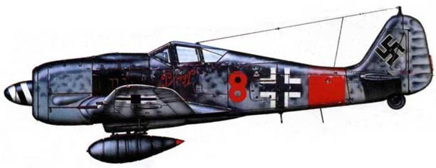 Fw 190A-8/R8, W.Nr. 682204, «1», 5./JG 300, машина командира звена Клауса Бречнайдера, конец 1944 года.