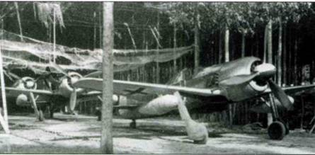 Этот Fw 190G-2/N оснащен пламегасителями на выхлопных патрубках. Самолет действовал в составе NSGr 20, совершая в течение 1944 года налеты на Англию.